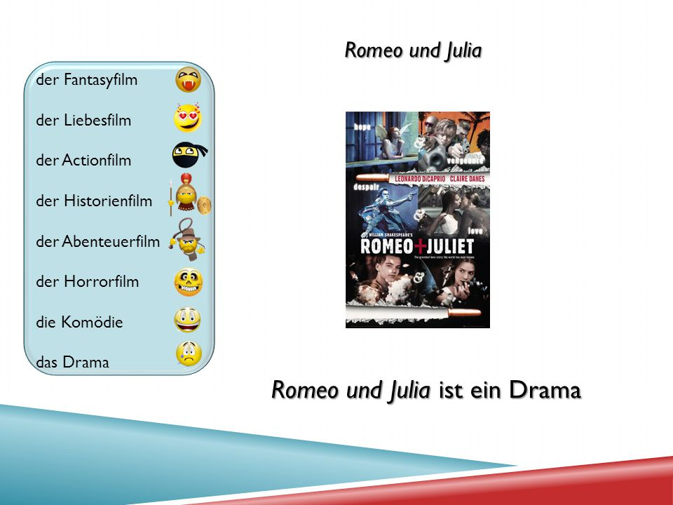 der Fantasyfilm der Liebesfilm der Actionfilm der Historienfilm der Abenteuerfilm der Horrorfilm die Komödie das Drama Romeo und Julia Romeo und Julia