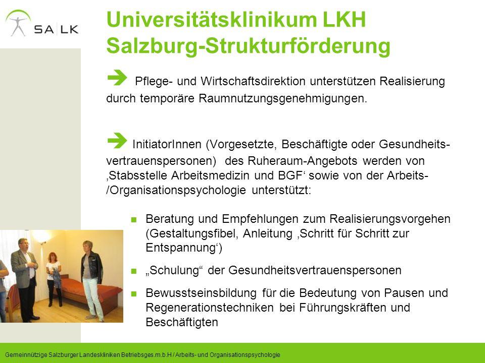 Universitätsklinikum LKH Salzburg-Strukturförderung  Pflege- und Wirtschaftsdirektion unterstützen Realisierung durch temporäre Raumnutzungsgenehmigu