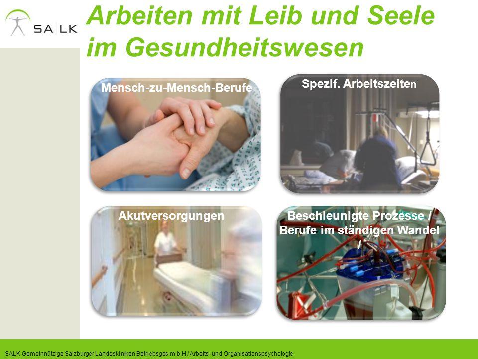 Arbeiten mit Leib und Seele im Gesundheitswesen SALK Gemeinnützige Salzburger Landeskliniken Betriebsges.m.b.H / Arbeits- und Organisationspsychologie
