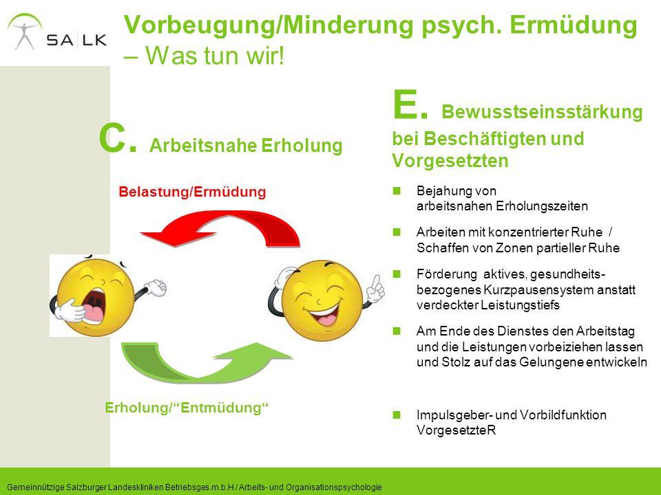 Vorbeugung/Minderung psych. Ermüdung – Was tun wir! C. Arbeitsnahe Erholung E. Bewusstseinsstärkung bei Beschäftigten und Vorgesetzten Bejahung von ar