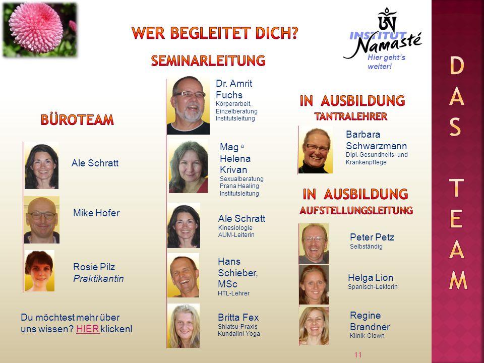 11 Ale Schratt Dr. Amrit Fuchs Körperarbeit, Einzelberatung Institutsleitung Mike Hofer Mag.