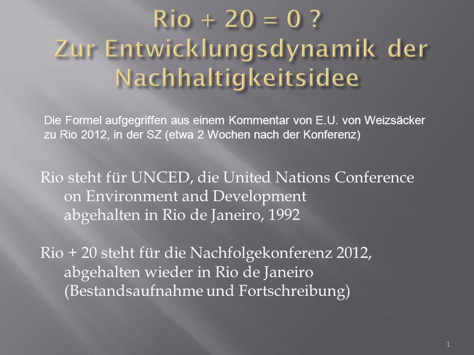 """Bekräftigung: Wirtschaftswachstum Voraussetzung für Nachhaltige Entwicklung Stärkung einer """"green economy Reaktionen auf das Ergebnis: Politik voll des Lobes (Ban Kee Moon, Altmaier), aber bereits im Vorfeld Signale, dass die Veranstaltung nicht besonders wichtig genommen wird (weder Obama noch Merkel lassen sich bei der Konferenz sehen; zähe Verhandlungen im Vorfeld ohne konkrete Ergebnisse) NGO's betrachten die Veranstaltung als gescheitert 42"""