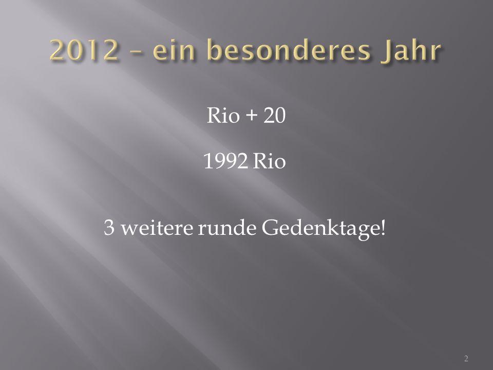 20 JahreRio: UNCED 25 JahreBrundtland Report 3
