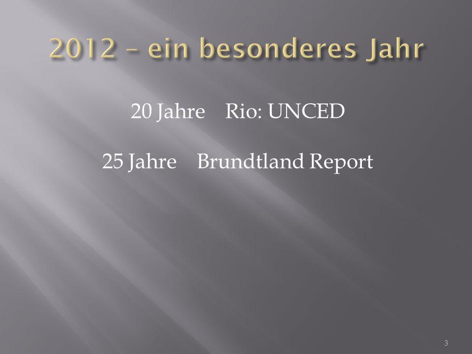 20 JahreRio: UNCED 25 JahreBrundtland Report 40 JahreLimits to Growth 4