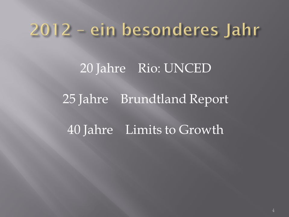 20 JahreRio: UNCED 25 JahreBrundtland Report 40 JahreLimits to Growth 4