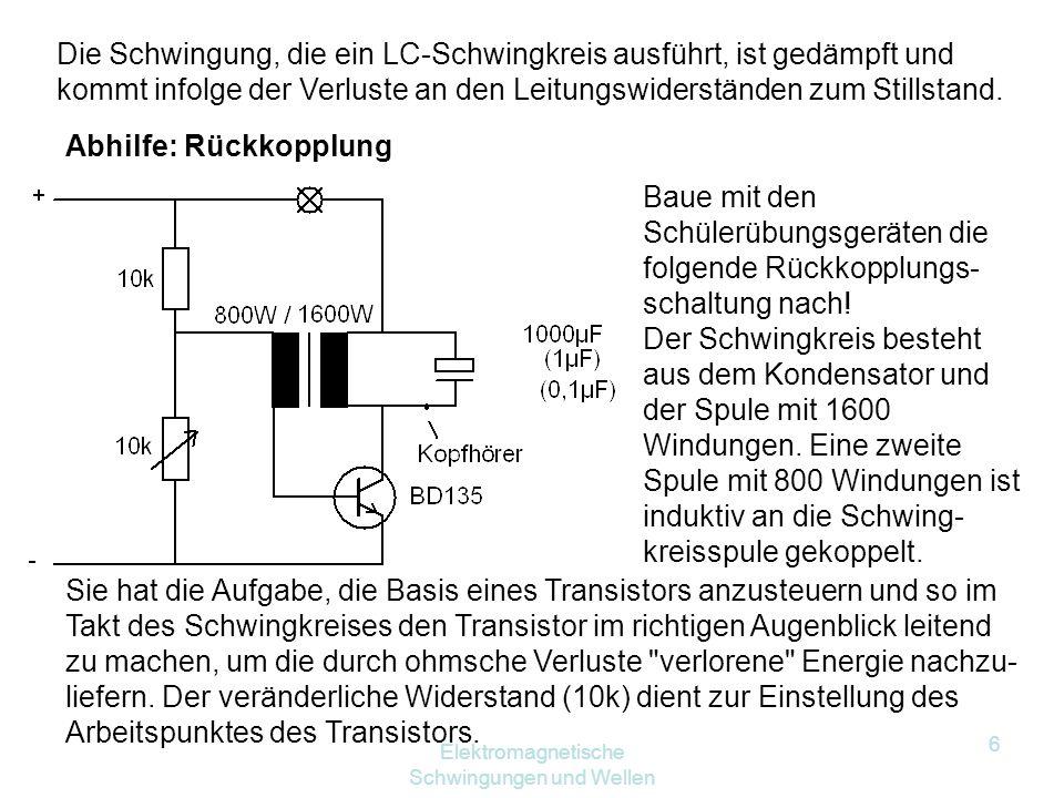 Elektromagnetische Schwingungen und Wellen 5 Frequenz der Schwingung: Kondensator: Spule: Da durch beide derselbe Strom fließt, setzen wir gleich: ( 