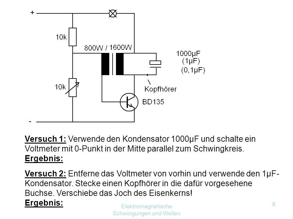 8 Versuch 1: Verwende den Kondensator 1000µF und schalte ein Voltmeter mit 0 ‑ Punkt in der Mitte parallel zum Schwingkreis.