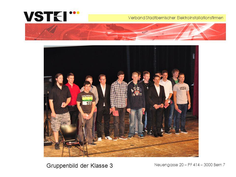 Verband Stadtbernischer Elektroinstallationsfirmen Neuengasse 20 – PF 414 – 3000 Bern 7 Gruppenbild der Klasse 3