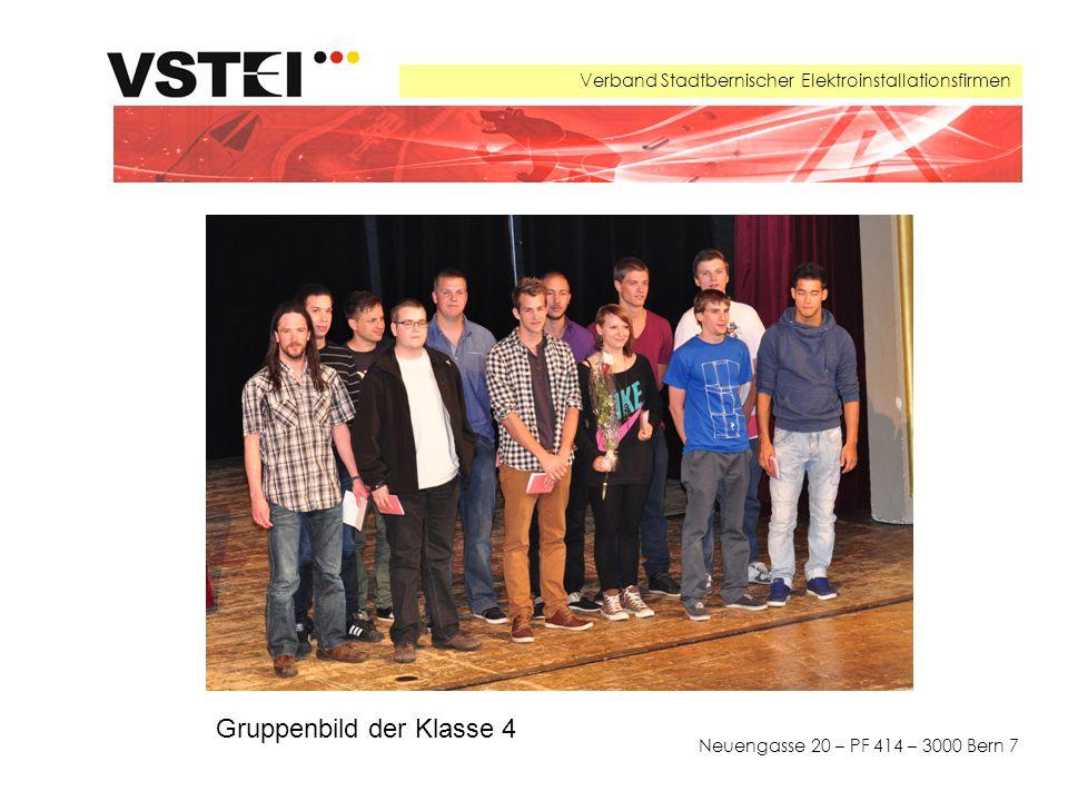 Verband Stadtbernischer Elektroinstallationsfirmen Neuengasse 20 – PF 414 – 3000 Bern 7 Gruppenbild der Klasse 4