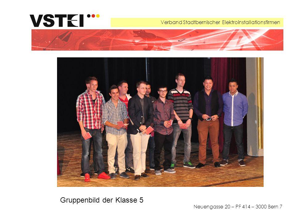 Verband Stadtbernischer Elektroinstallationsfirmen Neuengasse 20 – PF 414 – 3000 Bern 7 Gruppenbild der Klasse 5