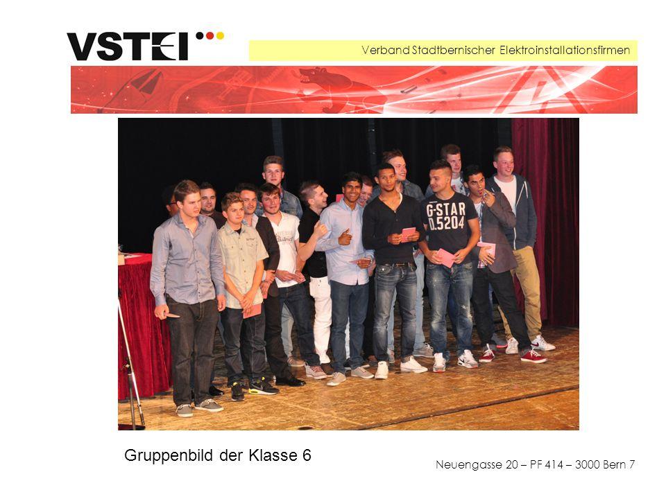 Verband Stadtbernischer Elektroinstallationsfirmen Neuengasse 20 – PF 414 – 3000 Bern 7 Gruppenbild der Klasse 6