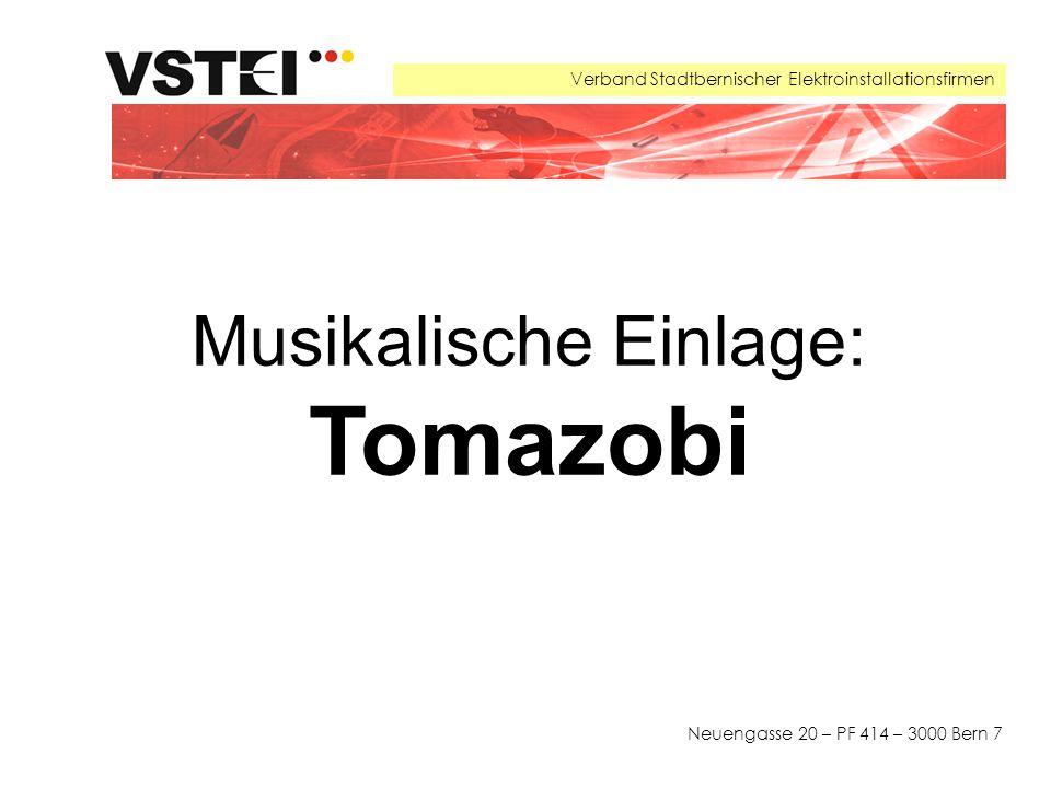 Verband Stadtbernischer Elektroinstallationsfirmen Neuengasse 20 – PF 414 – 3000 Bern 7 Musikalische Einlage: Tomazobi