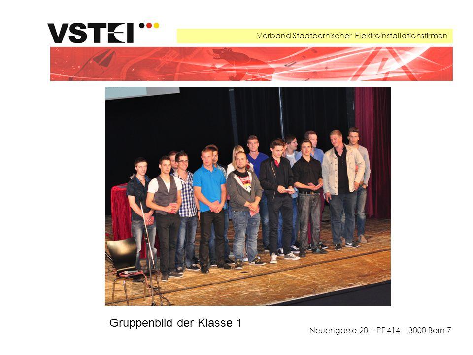 Verband Stadtbernischer Elektroinstallationsfirmen Neuengasse 20 – PF 414 – 3000 Bern 7 Gruppenbild der Klasse 1