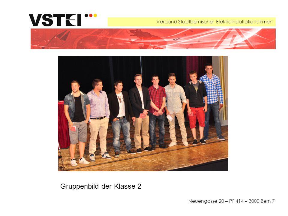 Verband Stadtbernischer Elektroinstallationsfirmen Neuengasse 20 – PF 414 – 3000 Bern 7 Gruppenbild der Klasse 2