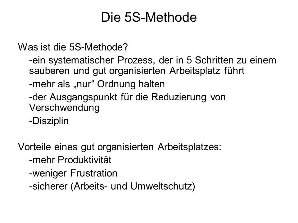 Die 5S-Methode Was ist die 5S-Methode? -ein systematischer Prozess, der in 5 Schritten zu einem sauberen und gut organisierten Arbeitsplatz führt -meh