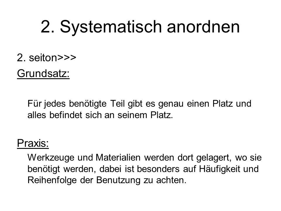 2. Systematisch anordnen 2. seiton>>> Grundsatz: Für jedes benötigte Teil gibt es genau einen Platz und alles befindet sich an seinem Platz. Praxis: W