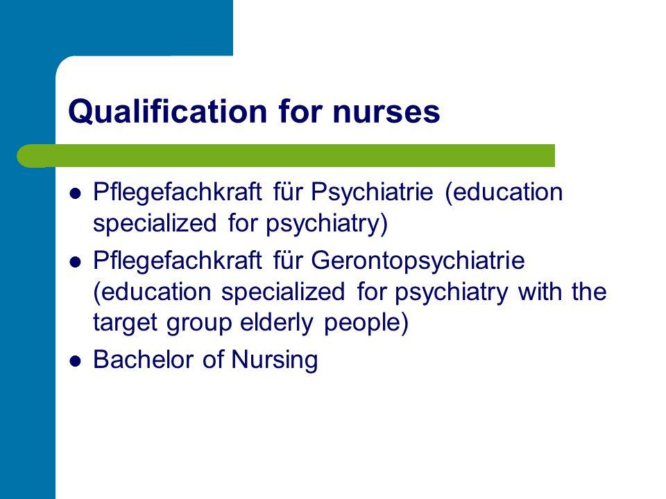 Qualification for nurses Pflegefachkraft für Psychiatrie (education specialized for psychiatry) Pflegefachkraft für Gerontopsychiatrie (education specialized for psychiatry with the target group elderly people) Bachelor of Nursing