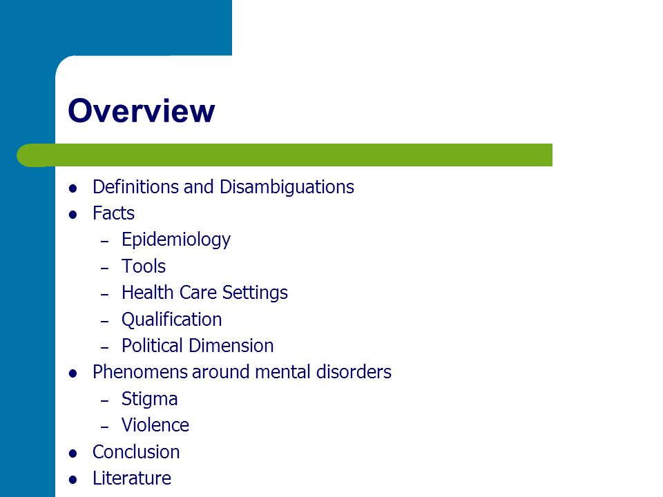 Definitions and Disambiguations A mental disorder or mental illness is a psychological pattern, potentially reflected in behavior, that is generally associated with distress or disability,...