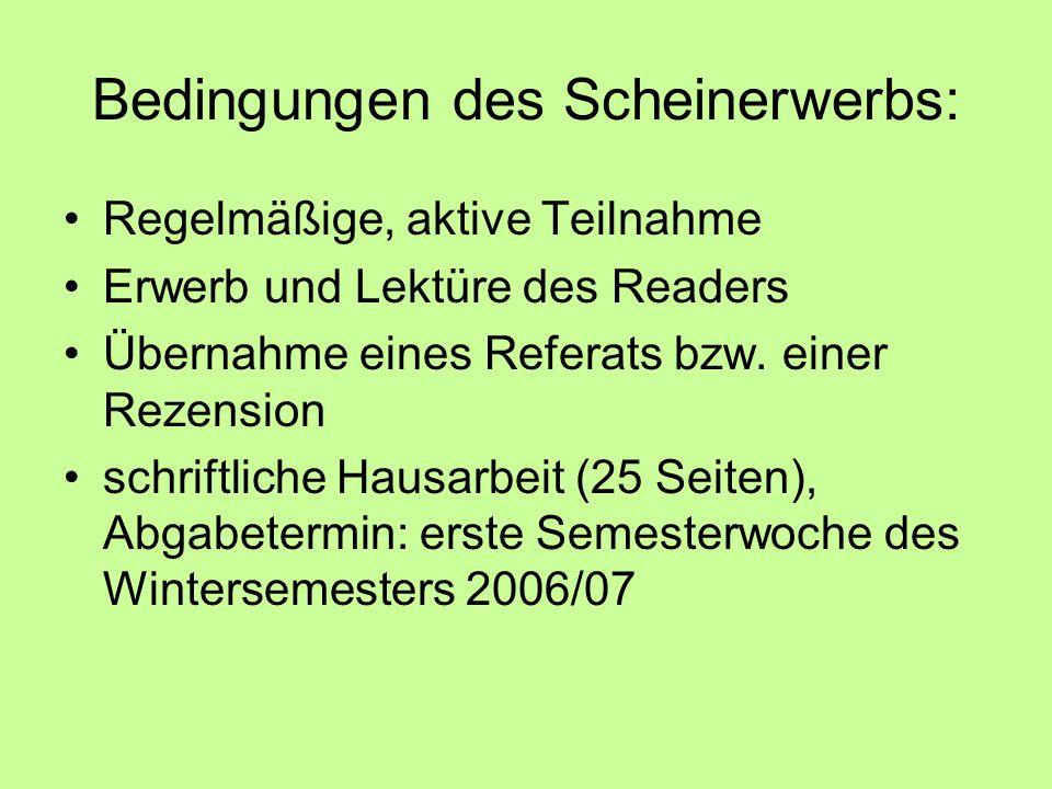 Bedingungen des Scheinerwerbs: Regelmäßige, aktive Teilnahme Erwerb und Lektüre des Readers Übernahme eines Referats bzw.