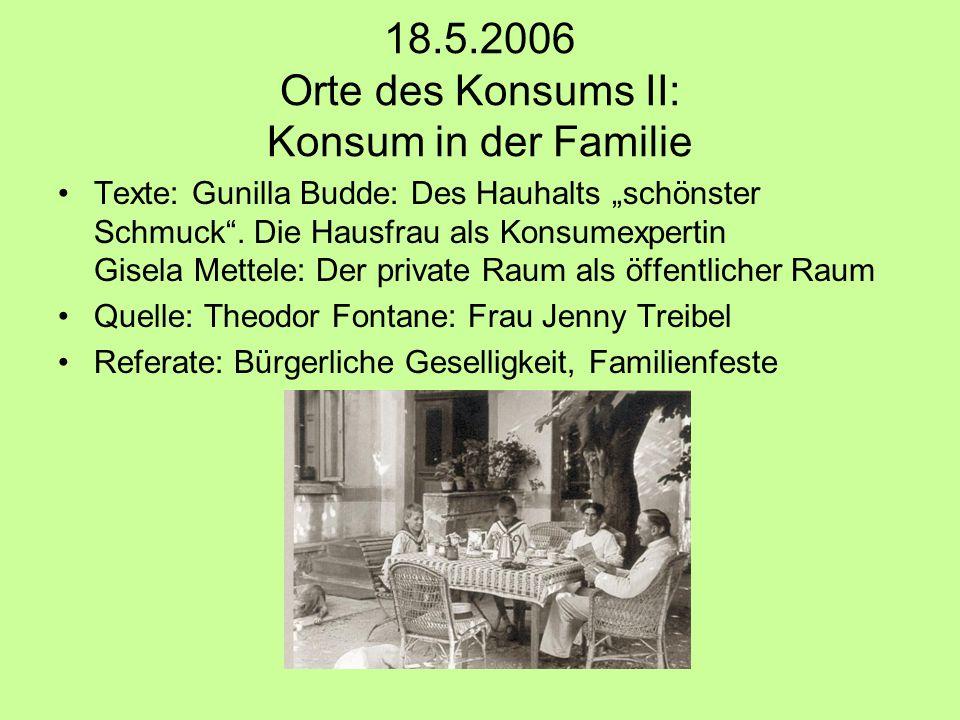 """18.5.2006 Orte des Konsums II: Konsum in der Familie Texte: Gunilla Budde: Des Hauhalts """"schönster Schmuck ."""