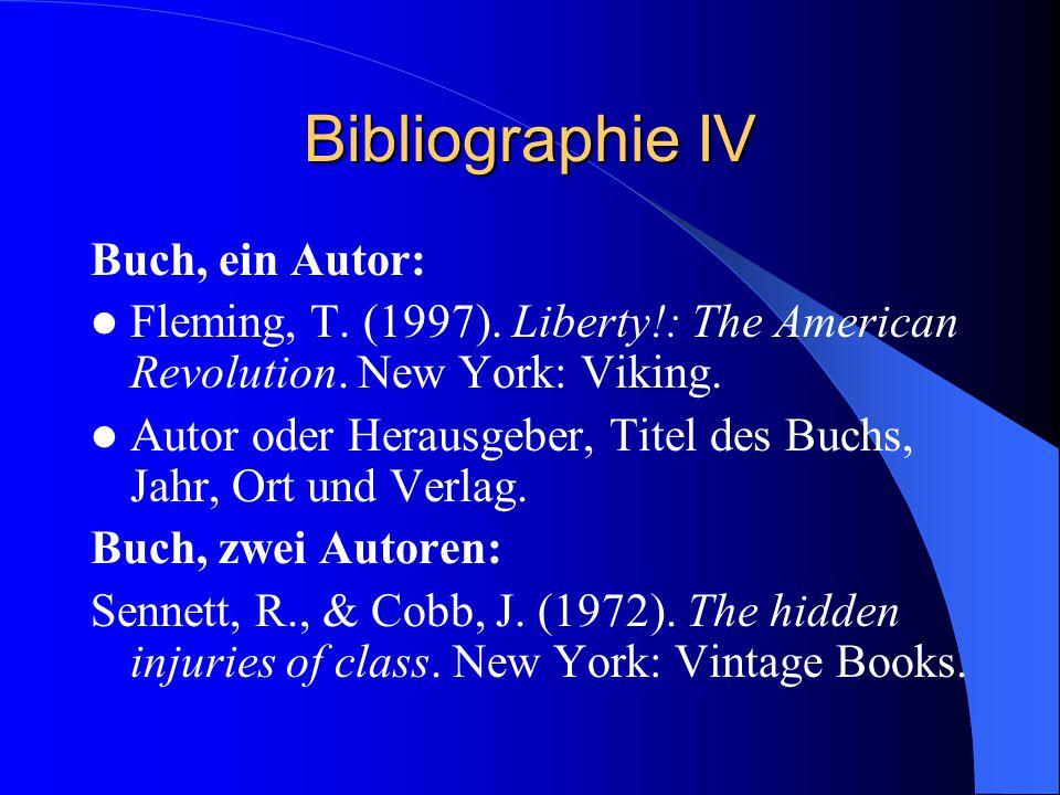 Bibliographie IV Buch, ein Autor: Fleming, T. (1997).