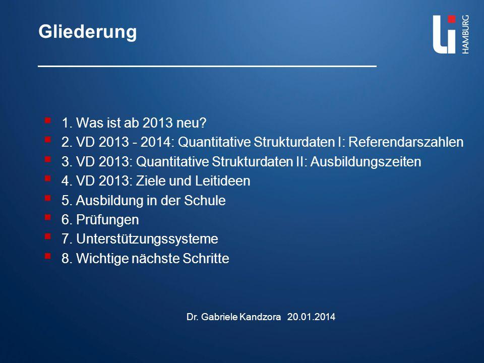 Gliederung  1. Was ist ab 2013 neu?  2. VD 2013 - 2014: Quantitative Strukturdaten I: Referendarszahlen  3. VD 2013: Quantitative Strukturdaten II: