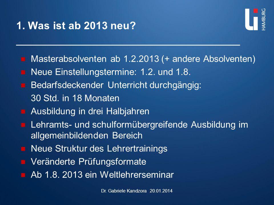 1. Was ist ab 2013 neu? _________________________________ Masterabsolventen ab 1.2.2013 (+ andere Absolventen) Neue Einstellungstermine: 1.2. und 1.8.