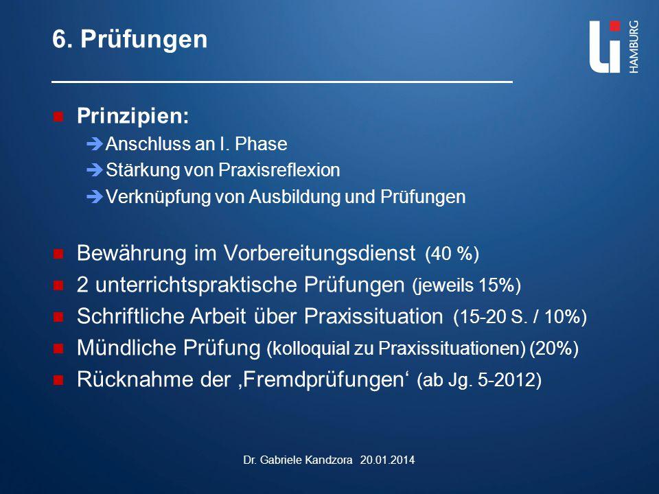 6. Prüfungen Prinzipien:  Anschluss an I. Phase  Stärkung von Praxisreflexion  Verknüpfung von Ausbildung und Prüfungen Bewährung im Vorbereitungsd