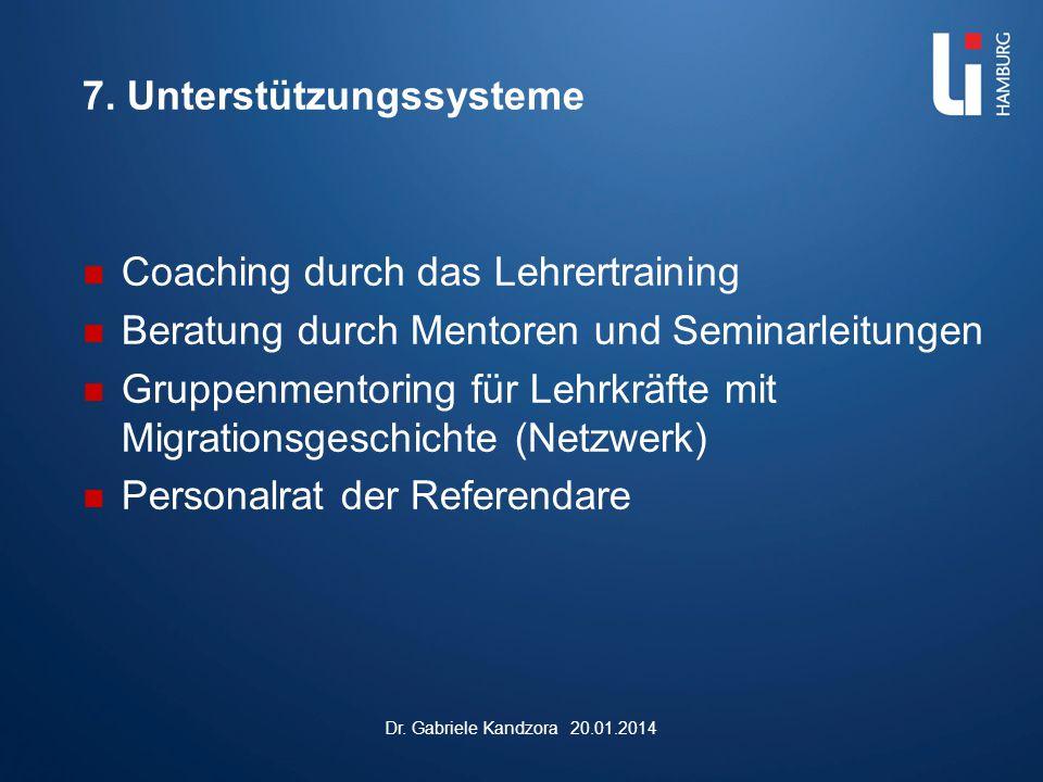 7. Unterstützungssysteme Coaching durch das Lehrertraining Beratung durch Mentoren und Seminarleitungen Gruppenmentoring für Lehrkräfte mit Migrations