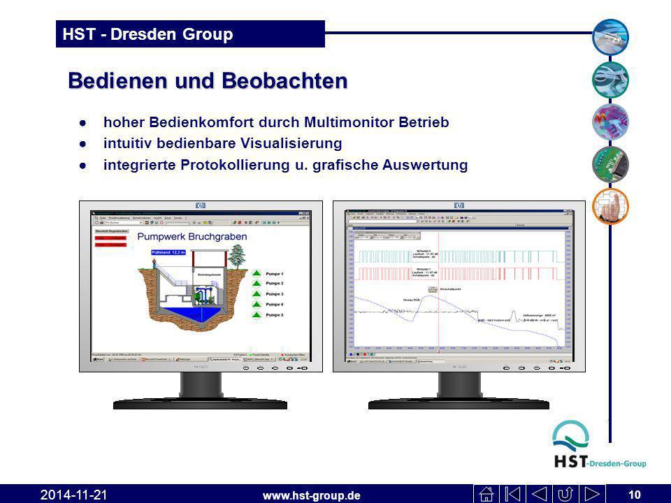 www.hst-group.de HST - Dresden Group Bedienen und Beobachten 10 2014-11-21 ●hoher Bedienkomfort durch Multimonitor Betrieb ●intuitiv bedienbare Visualisierung ●integrierte Protokollierung u.
