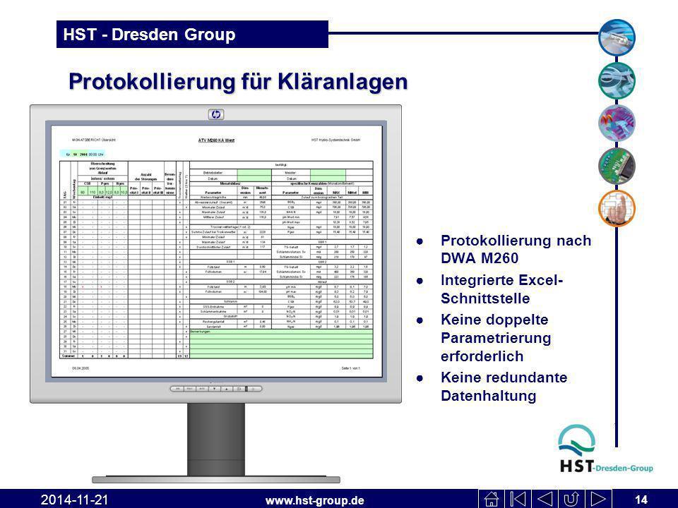 www.hst-group.de HST - Dresden Group Protokollierung für Kläranlagen ●Protokollierung nach DWA M260 ●Integrierte Excel- Schnittstelle ●Keine doppelte Parametrierung erforderlich ●Keine redundante Datenhaltung 14 2014-11-21