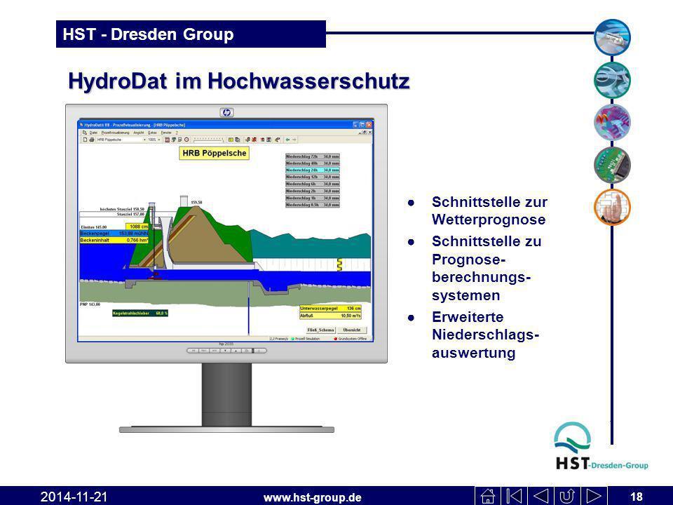 www.hst-group.de HST - Dresden Group HydroDat im Hochwasserschutz ●Schnittstelle zur Wetterprognose ●Schnittstelle zu Prognose- berechnungs- systemen ●Erweiterte Niederschlags- auswertung 18 2014-11-21