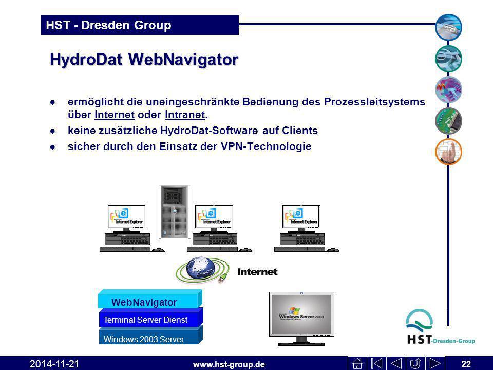 www.hst-group.de HST - Dresden Group HydroDat WebNavigator 22 2014-11-21 ●ermöglicht die uneingeschränkte Bedienung des Prozessleitsystems über Internet oder Intranet.