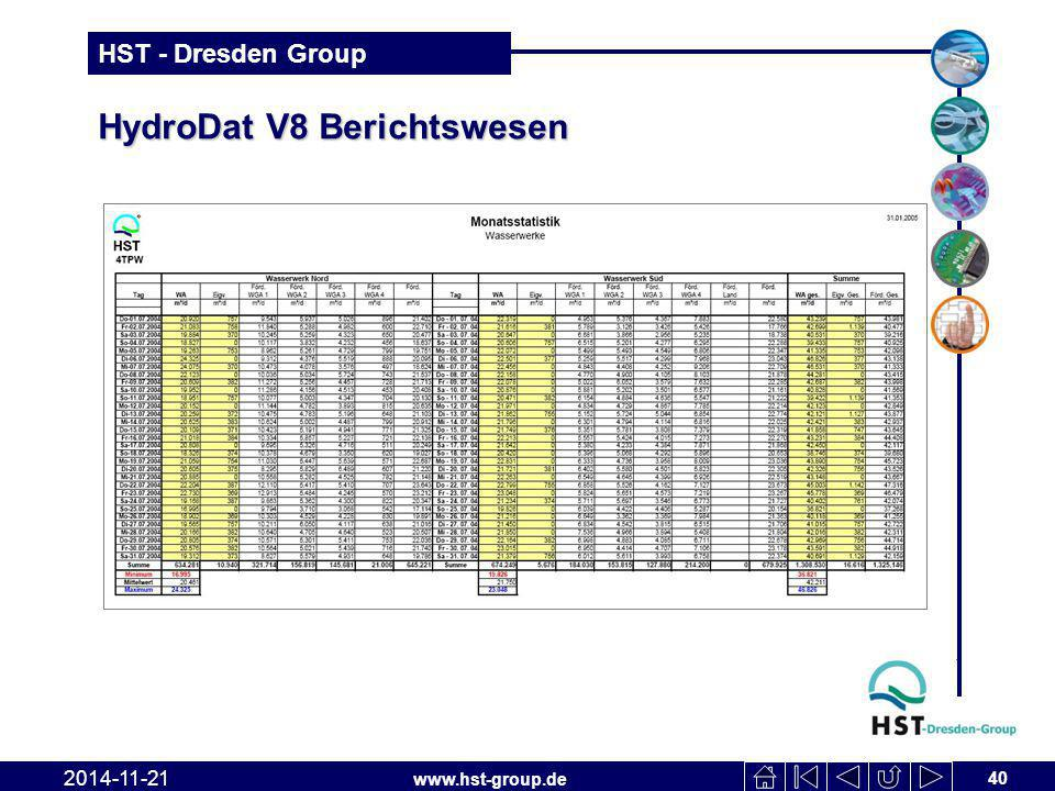 www.hst-group.de HST - Dresden Group HydroDat V8 Berichtswesen 40 2014-11-21
