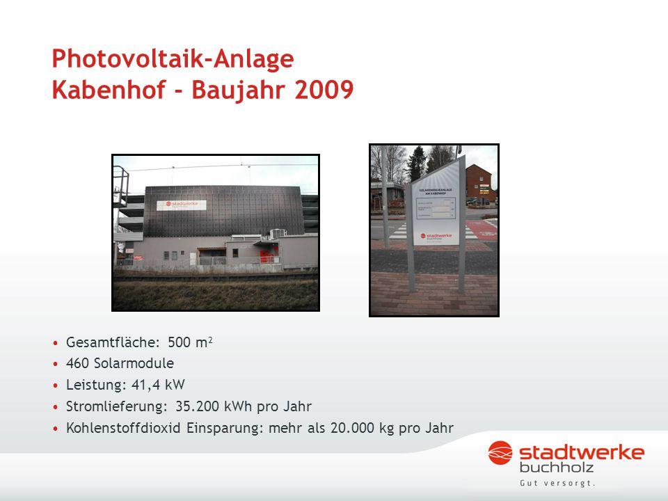 Photovoltaik-Anlage Kabenhof - Baujahr 2009 Gesamtfläche: 500 m² 460 Solarmodule Leistung: 41,4 kW Stromlieferung: 35.200 kWh pro Jahr Kohlenstoffdiox