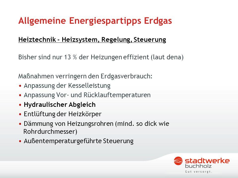 Allgemeine Energiespartipps Erdgas Heiztechnik - Heizsystem, Regelung, Steuerung Bisher sind nur 13 % der Heizungen effizient (laut dena) Maßnahmen ve