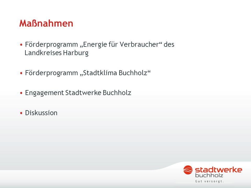 """Maßnahmen Förderprogramm """"Energie für Verbraucher"""" des Landkreises Harburg Förderprogramm """"Stadtklima Buchholz"""" Engagement Stadtwerke Buchholz Diskuss"""