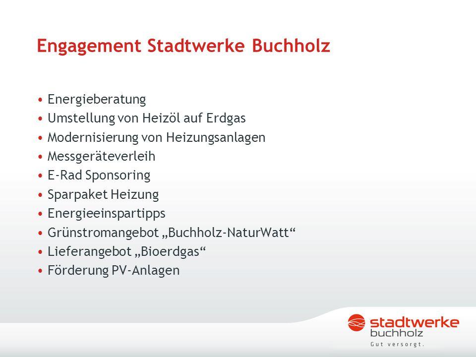 Engagement Stadtwerke Buchholz Energieberatung Umstellung von Heizöl auf Erdgas Modernisierung von Heizungsanlagen Messgeräteverleih E-Rad Sponsoring