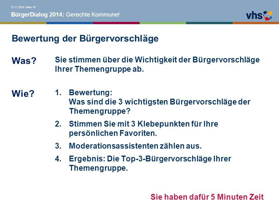 BürgerDialog 2014: Gerechte Kommune.