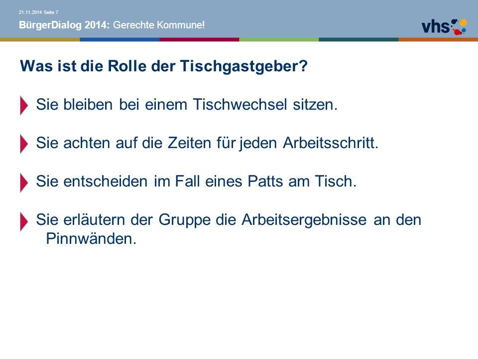 BürgerDialog 2014: Gerechte Kommune. Was ist die Rolle der Tischgastgeber.
