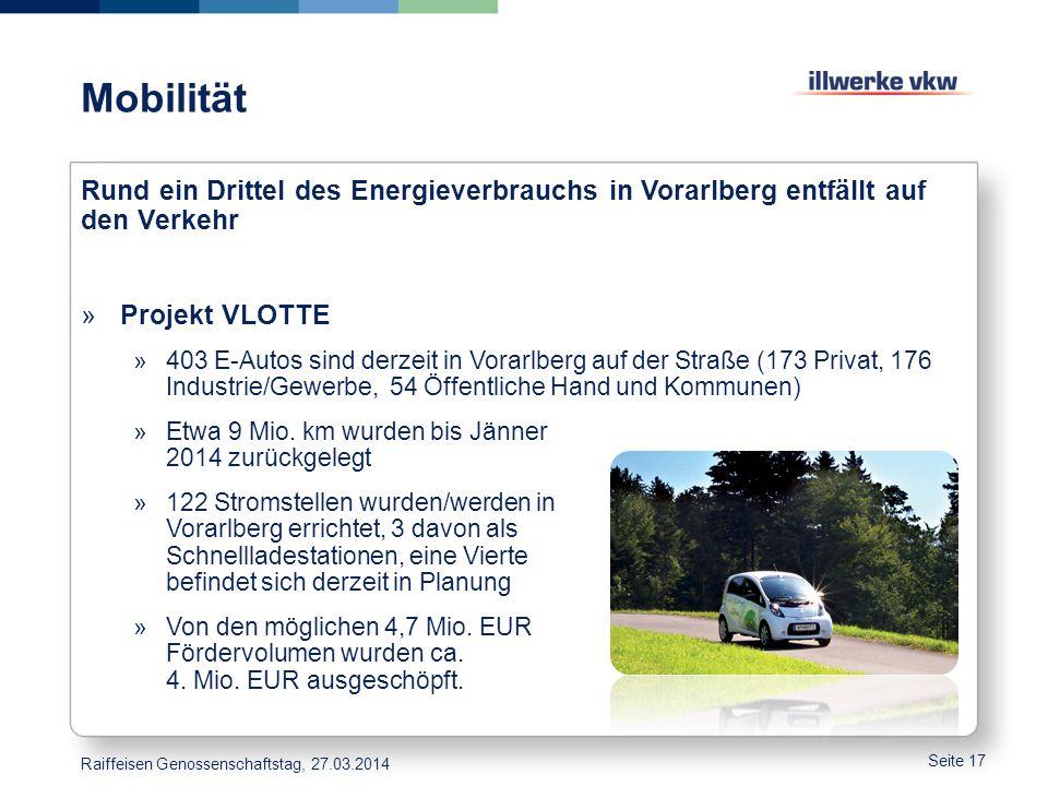 Mobilität Seite 17 Rund ein Drittel des Energieverbrauchs in Vorarlberg entfällt auf den Verkehr »Projekt VLOTTE »403 E-Autos sind derzeit in Vorarlbe