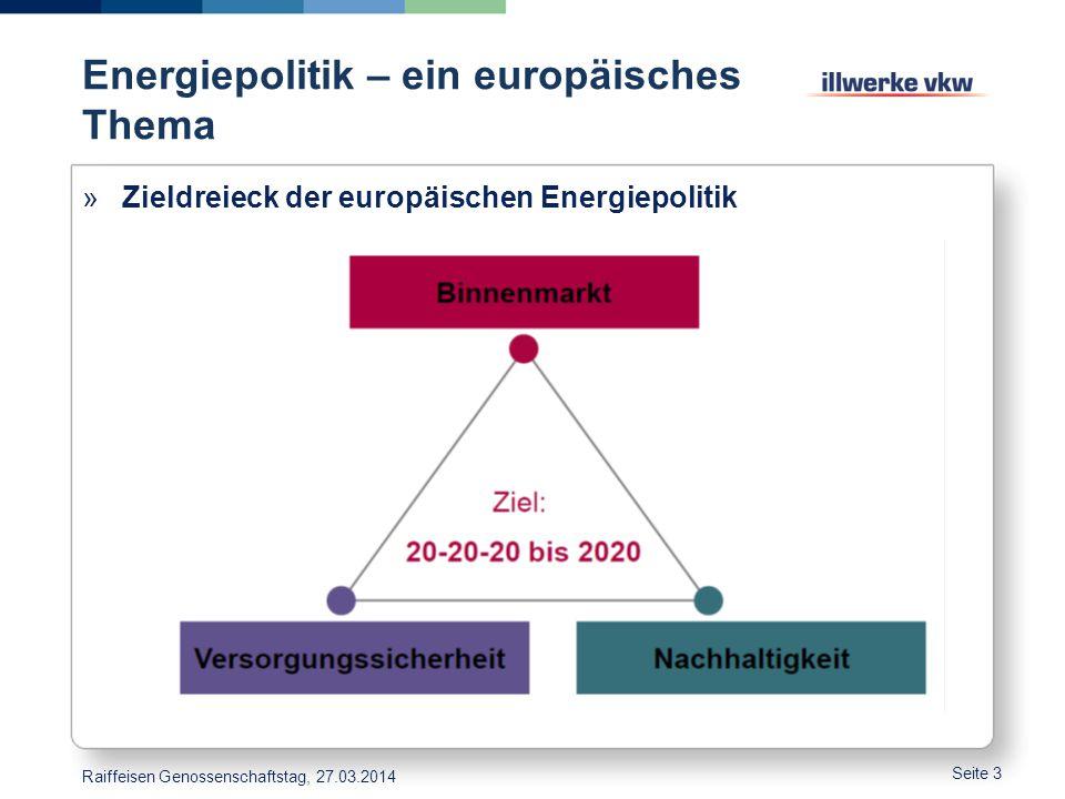 Energiepolitik – ein europäisches Thema Seite 3 »Zieldreieck der europäischen Energiepolitik Raiffeisen Genossenschaftstag, 27.03.2014