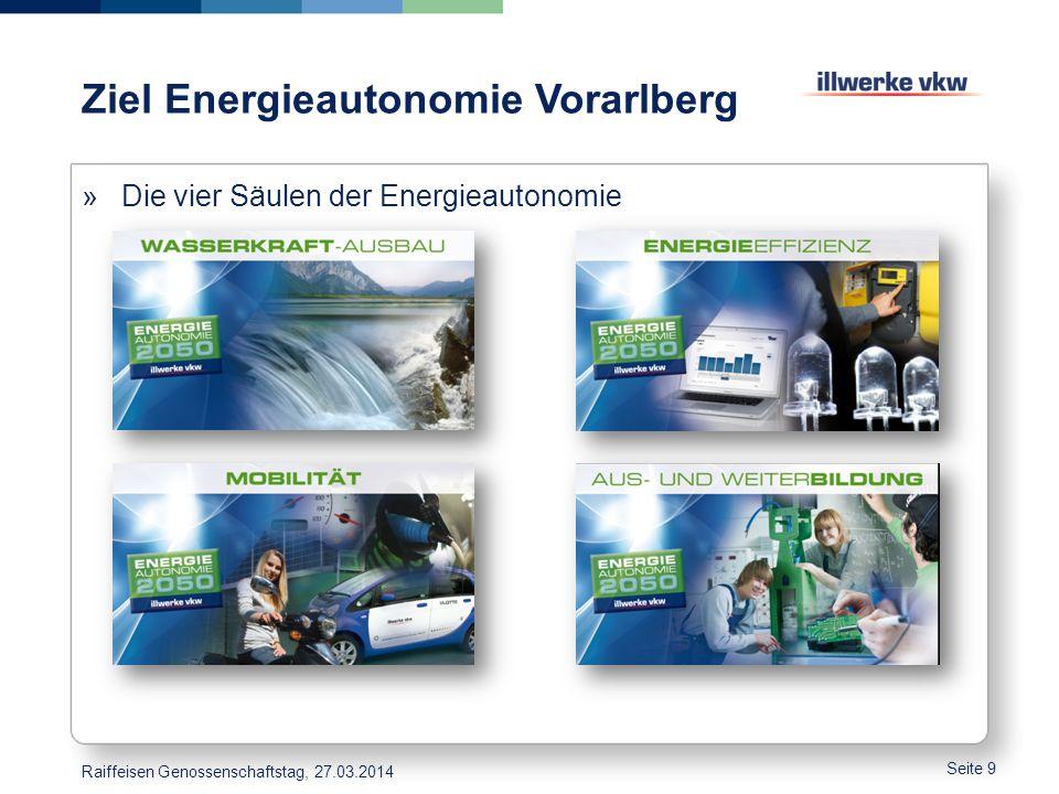 Ziel Energieautonomie Vorarlberg Seite 9 »Die vier Säulen der Energieautonomie Raiffeisen Genossenschaftstag, 27.03.2014