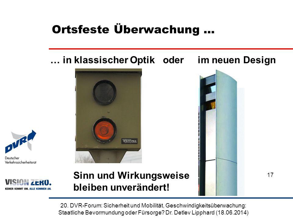 Ortsfeste Überwachung … 20. DVR-Forum: Sicherheit und Mobilität, Geschwindigkeitsüberwachung: Staatliche Bevormundung oder Fürsorge? Dr. Detlev Lippha