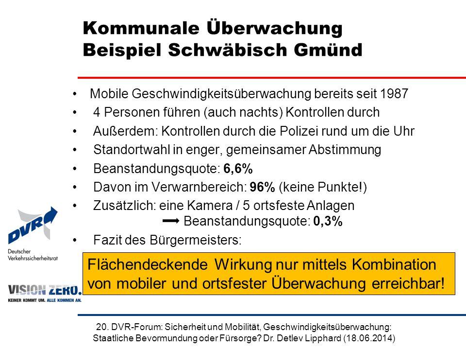 Kommunale Überwachung Beispiel Schwäbisch Gmünd Mobile Geschwindigkeitsüberwachung bereits seit 1987 4 Personen führen (auch nachts) Kontrollen durch