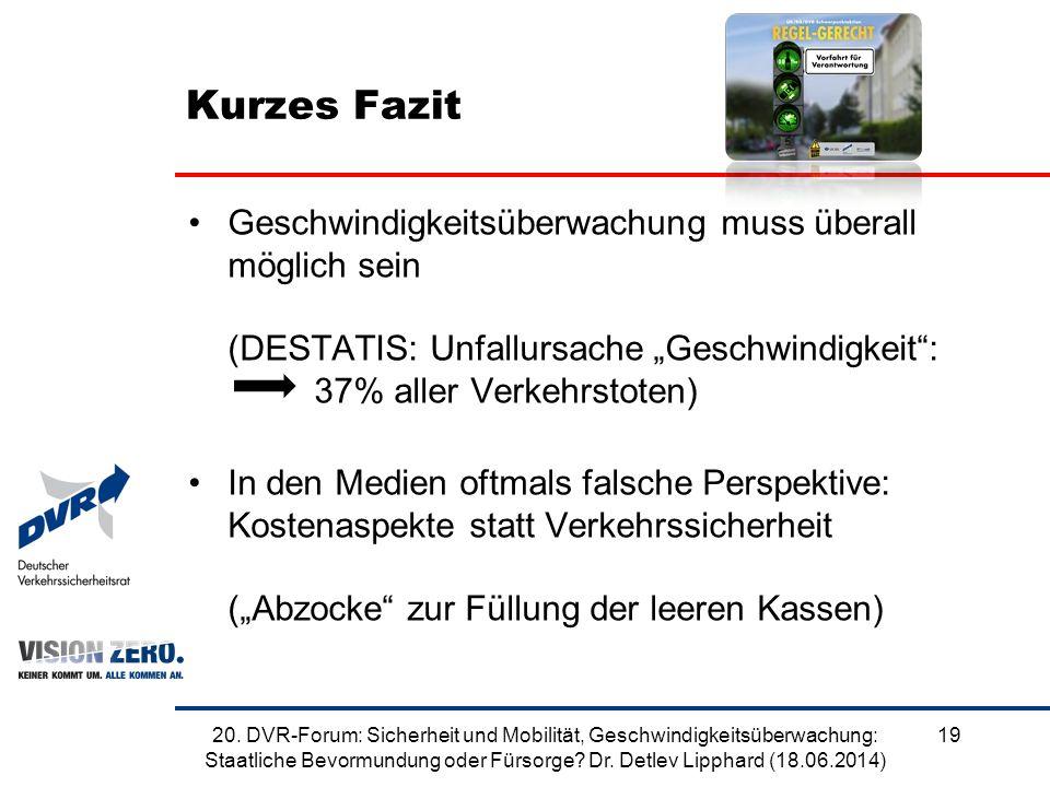 """Kurzes Fazit Geschwindigkeitsüberwachung muss überall möglich sein (DESTATIS: Unfallursache """"Geschwindigkeit"""": 37% aller Verkehrstoten) In den Medien"""