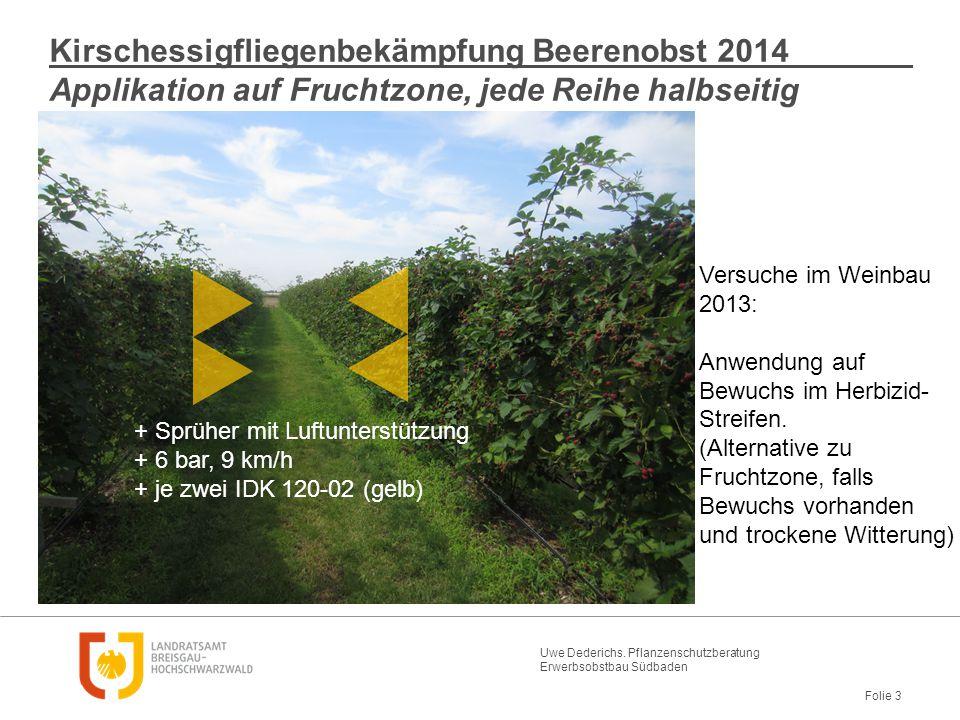 Uwe Dederichs. Pflanzenschutzberatung Erwerbsobstbau Südbaden Folie 3 Kirschessigfliegenbekämpfung Beerenobst 2014 Applikation auf Fruchtzone, jede Re