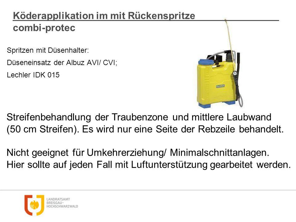 Spritzen mit Düsenhalter: Düseneinsatz der Albuz AVI/ CVI; Lechler IDK 015 Köderapplikation im mit Rückenspritze combi-protec Streifenbehandlung der T