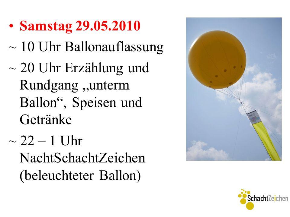 """Samstag 29.05.2010 ~ 10 Uhr Ballonauflassung ~ 20 Uhr Erzählung und Rundgang """"unterm Ballon"""", Speisen und Getränke ~ 22 – 1 Uhr NachtSchachtZeichen (b"""