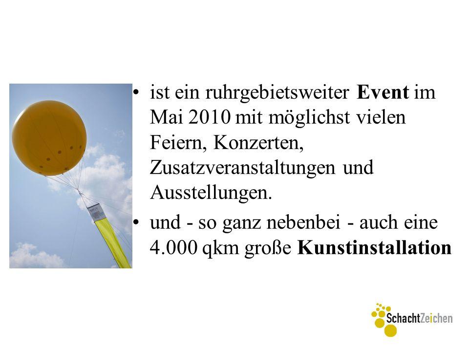 """Samstag 29.05.2010 ~ 10 Uhr Ballonauflassung ~ 20 Uhr Erzählung und Rundgang """"unterm Ballon , Speisen und Getränke ~ 22 – 1 Uhr NachtSchachtZeichen (beleuchteter Ballon)"""